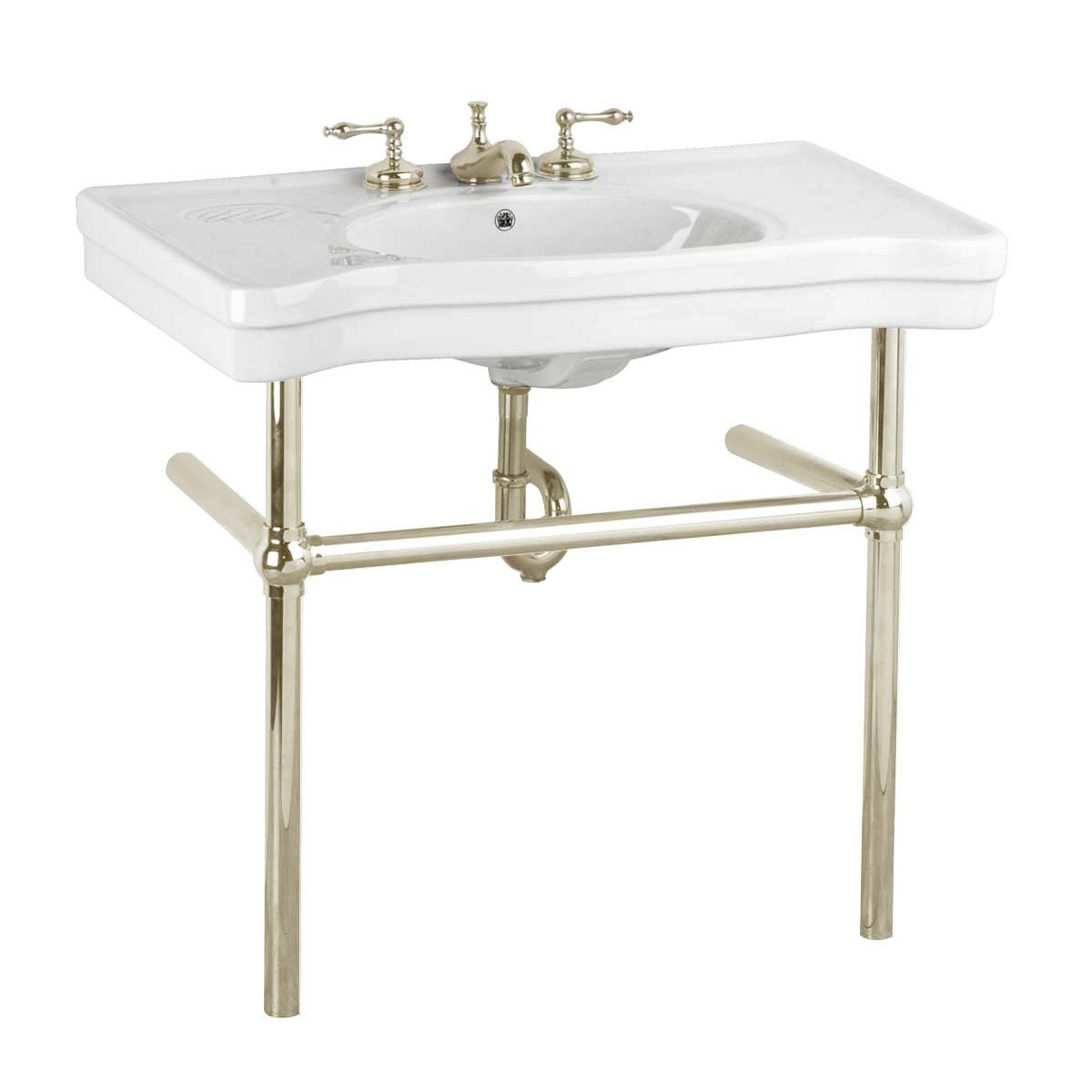 Classic white console sink with beautiful legs and vintage style chic.