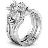 by lucky Human Bone Skull Women Men 925 Silver White Topaz Gemstone Ring Wedding Sz 6-10 (9)