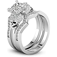 phitak shop 3PC Women Fashion 925 Silver Princess Cut White Sapphire Skull Wedding Ring Set (7)