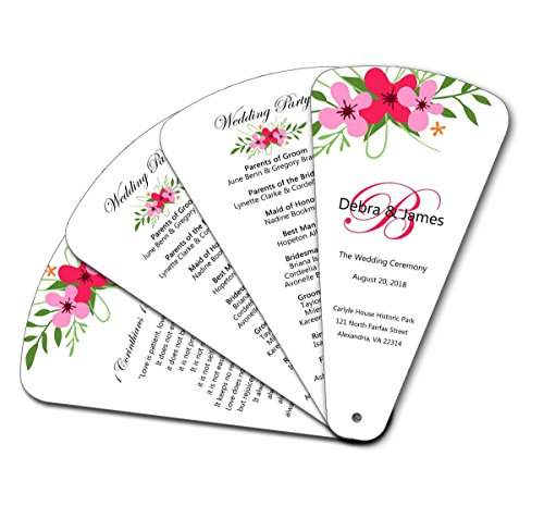 - Custom Print Designer Floral Blossom Monogram 4 Page Petal Wedding Ceremony Program Hand Fans - Blade Die Cut - Set of 20 - Includes FREE Design* and Assembly*