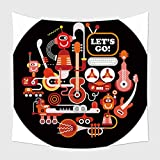 Home Decor Tapestry Wall Hanging Futuristic Recording Studio Illustration. Round Shape Art Collage Of A Musical Instruments And Electronic Equipment Isolated On A Black Background_60010521 for Bedroom