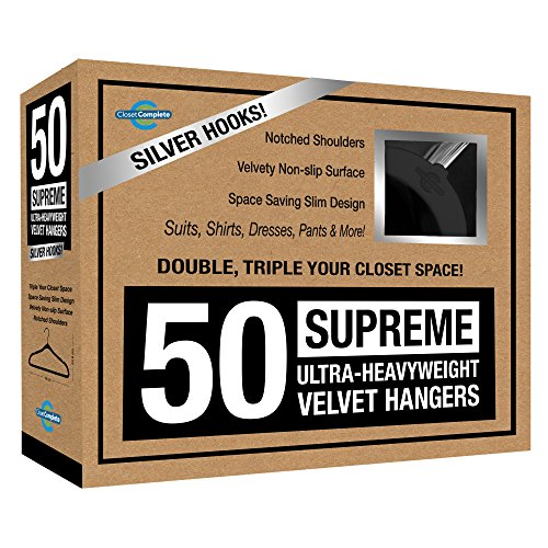 Closet Complete Supreme Ultra-Heavyweight, Velvet Suit Hangers – Ultra-Thin, Space Saving, No-Slip, Best For Dresses, Suits & Shirts - Black, Set of 50