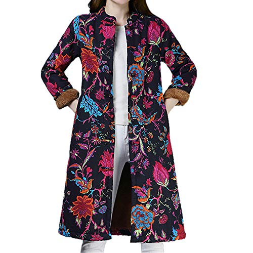 Print Velvet Coat (TnaIolr Women's Winter Warm Coat, Women Folk-Custom Print Velvet Cotton Outwear Warm Long Thick Coat Jacket Parka)