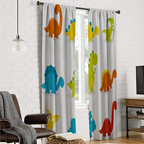 Mozenou Insulated Blackout Curtain Doorway Curtain Dinosaur,Cute and Funny Dinosaurs Set Cartoon Style Colorful Collection Kids Nursery Theme,Multicolor W120 x L108 Inch