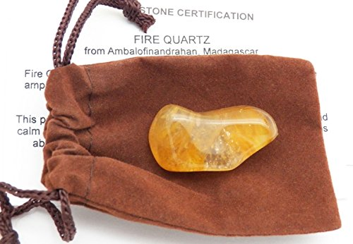 - Fundamental RockhoundTM Products: Natural Gold Fire Quartz Tumbled Stone Crystal from Madagascar Ferruginous Hematoid (Extra Large)
