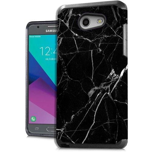 Samsung J3 Emerge J327 Galaxy Amp Prime 2 Galaxy J3 Prime Galaxy Luna Pro Stylish Case for AT&T/T-Mobile/Sprint/Boost Mobile/Virgin Mobile/Metro PCS/Cricket - MARBLE BLACK -