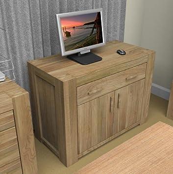 eton oak furniture hidden home office computer desk baumhaus mobel oak hidden office computer