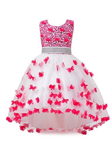 aibeiboutique Flower Girl Dress Princess Butterfly Ball Gown Dresses for Wedding Birthday Party (Rose Red, 9-10 ()