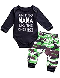 Newborn Baby Boys Winter Clothes Black Romper Bodysuit And Camouflage Pants Outfit Set
