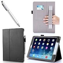 iPad Air 2 Case, i-Blason Slim Leathe Book Stand Cover Case for Apple iPad Air 2 (iPad 6) 9.7 Inch iOS 8 Tablet, BLACK (with Smart Cover Auto Sleep / wake, Hand Strap, ID Holder, Bonus Stylus Pen) - Black