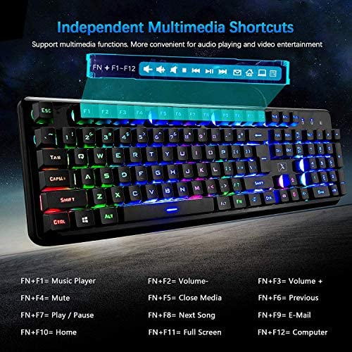 Wired Keyboard and Mouse Mousepad Combo,Mechanical Feel Rainbow Backlit Gaming Keyboard Mouse,10 Color RGB Gaming Mice Pad 7 Color Mute Gaming La Souris for PC Laptop Mac 51kBH9xQjyL