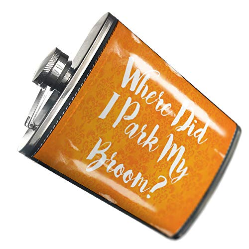 NEONBLOND Flask Where Did I Park My Broom? Halloween Orange Wallpaper Hip Flask PU Leather Stainless Steel Wrapped ()