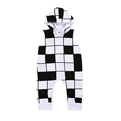 Fineser Summer Baby Girls Boys Plaid Sleeveless Hoodie Romper Jumpsuit One Piece Playsuit Outfits
