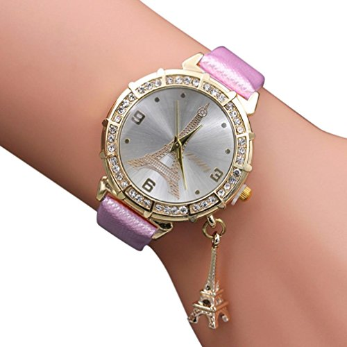 Women Elegant Quartz Watches Fashion Eiffel Tower Rhinestone Wrist Watches with Pendant (Pink)