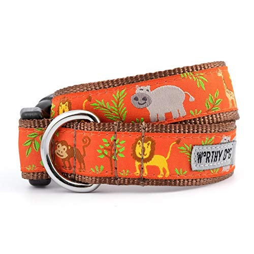 The Worthy Dog 21958-4221XS Zoofari Lion Elephant Giraffe Monkey Hippo Jungle Pattern Adjustable Designer Pet Dog Collar (Collar Monkey Dog)