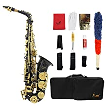 Andoer LADE Brass Engraved Eb E-Flat Alto Saxophone Sax Abalone Shell Buttons Wind Instrument with Case Gloves Cleaning Cloth Grease Belt Brush