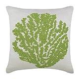 "Luxury White Pillow Shams, Beaded Green Sea Weeds Sea Creatures Ocean & Beach Theme Pillow Shams, 24""x24"" Pillow Sham, Square Cotton Linen Shams, Mediterranean Pillow Shams - Deep Sea Weeds"