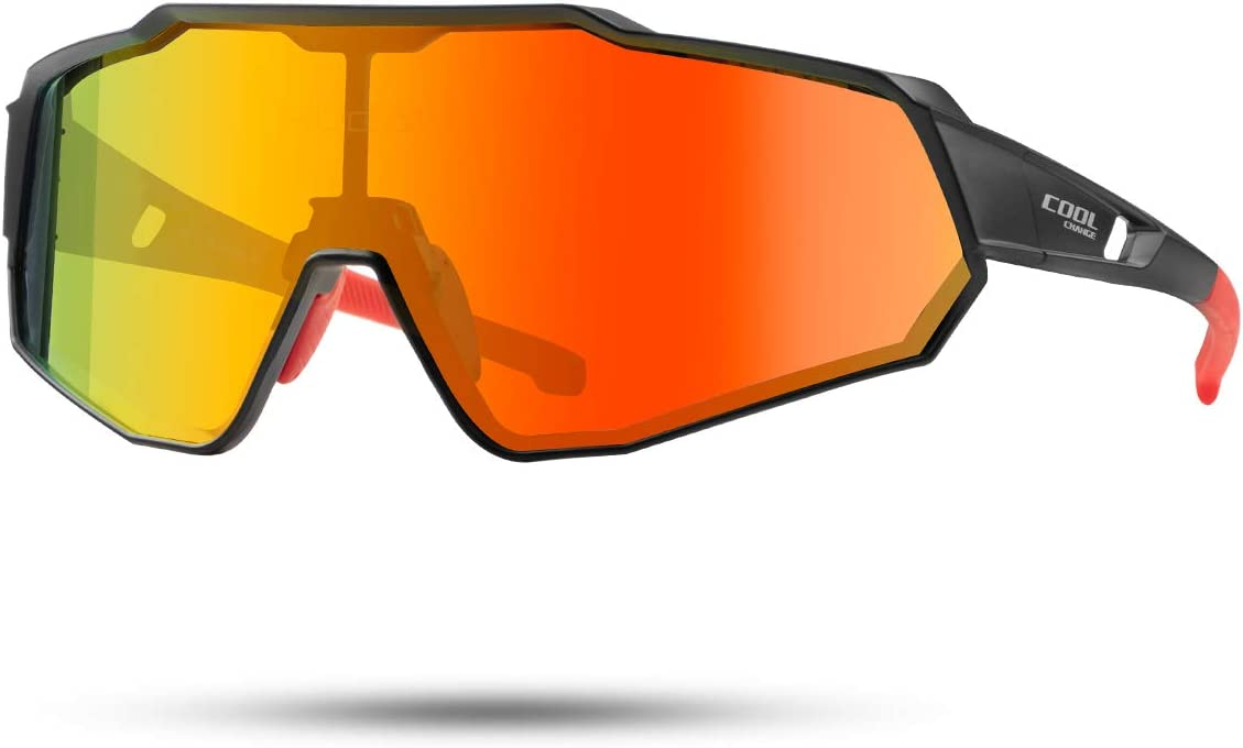 Cool Change Polarized Cycling Sunglasses Full Screen TR90 Unbreakable Lightweight Sports Glasses for Men Women…