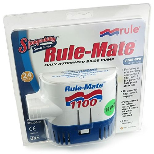 [Rule-Mate 1100 24volt Automated Bilge Pump, 1.4Amps 1100 GPH 4160 LPH, 2.5A Fuse] (Rule Industries Pump)