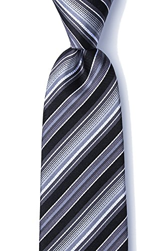 emporary Moy Stripe XL Extra Long Tie Necktie Neckwear (Black & Gray) (Gray Stripe Tie)