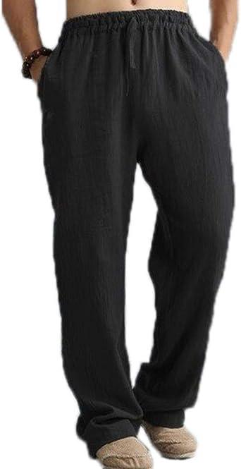 Huateng Algodón para Hombre Cordón Joggers Rectos Pantalones ...