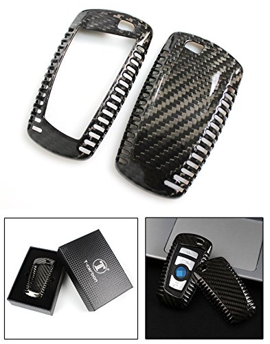 Luxury Carbon Fiber Key Protective Hard Case Cover for BMW Leyless Entry Smart -
