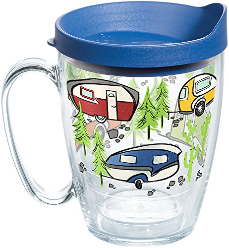 Tervis 1259435 Retro Camping Insulated Tumbler with Wrap and Blue Lid, 16oz Mug, Clear