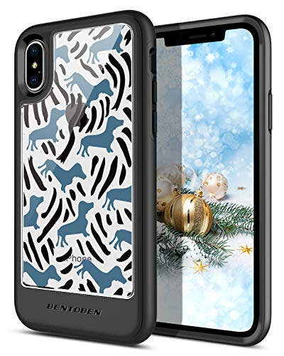 BENTOBEN Case for iPhone Xs/iPhone X/iPhone 10, Clear Heavy Duty Hybrid Shockproof Protective Phone Case Cute Pattern Design Cover for Apple iPhone Xs (2018), iPhone X/10 2017 (5.8 Inch), Clear/Blue
