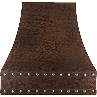 Premier Copper Products 36 Inch 625 CFM Hand Hammered Copper Wall Mounted Correa Range Hood with Baffle Filters