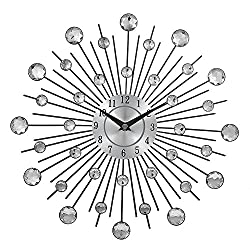 Crystal Sunburst Metal Wall Clock Home Art Decor Silver Mirror Modern Style Decorative,Perfect for Housewarming Gift.( 3d,36pcs Diamonds,13 Inches)