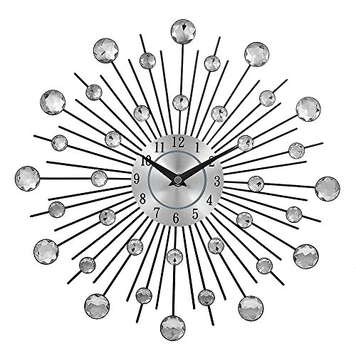 - Crystal Sunburst Metal Wall Clock Home Art Decor Silver Mirror Modern Style Decorative,Perfect for Housewarming Gift.(3d,36pcs Diamonds,13 Inches)