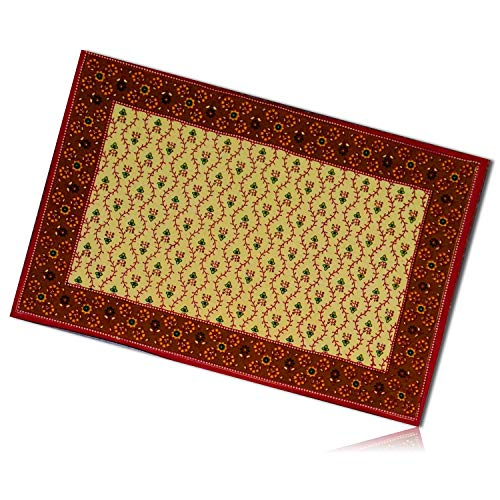 (mySimpleProduct.Shop Burgundy Red, Green & Yellow Rectangle Vintage Handmade Garden Floral Flower Vine Dotted Pattern Patterned Tapestry Table Placemats Made of 100% Cotton [1 Unit] + Certificate)