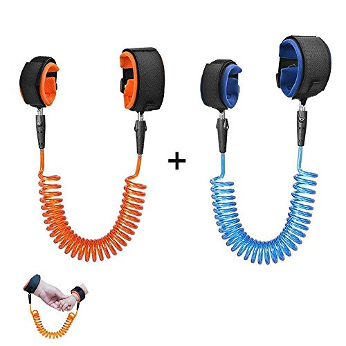 Anti Lost Wrist Link [2 Pack], Hossom Toddler Wrist Leash, Child Safety Leash, Child Wrist Leash, Anti Lost Rope Safety Harness for Kids [4.92ft &8.2ft] (Blue, 1.5/2.5M)