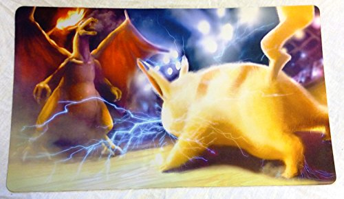 Pikachu Vs. Charizard Pokemon TCG playmat, gamemat 24'' wide 14'' tall for trading card game smooth cloth surface rubber base by Masters of trade