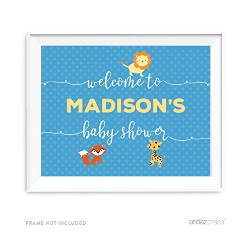 (Andaz Press Noah's Ark Baby Shower Collection, Personalized Party Signs, Welcome to Madison's Baby Shower Sign, 8.5x11-inch, 1-Pack, Custom Made Any Name)