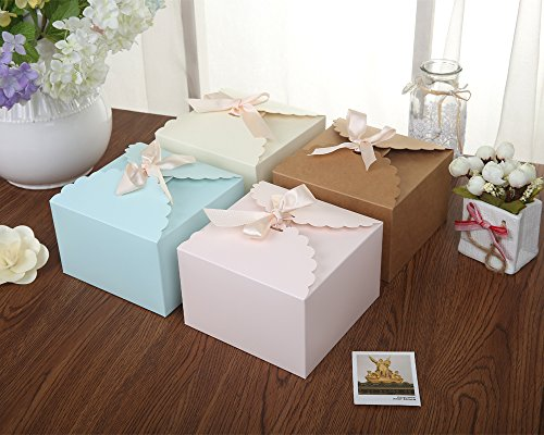 Chilly Gift Boxes, Set of 12 Decorative Treats Boxes, Cake, Cookies, Goodies, Candy and Handmade Baby Bath Bombs Shower Soaps Gift Boxes for Christmas, Birthdays, Holidays, Weddings (Solid Color)