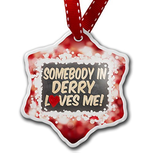 VinMea Star Shaped Porcelain Red Christmas Ornament Somebody in Derry Loves me, Northern Ireland, ()