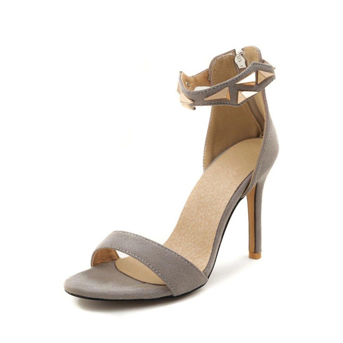 AIKAKA Chaussures pour Femmes Printemps Glissière Été Haut pour Talon Talon à Glissière Sandales Gray 97547b6 - reprogrammed.space