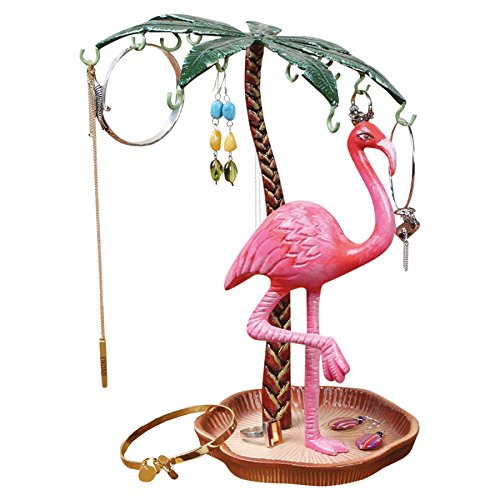 Pink Flamingo Jewelry Holder and Island Tray - Metal - 9.5