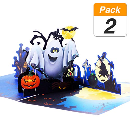 Jovitec 2 Sets 3D Halloween Pop up Greeting Card Ghost Pumpkin Pattern Handmade Card with Envelope for Halloween Themed Party, 5.9 x 5.9 Inches