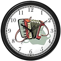Accordion - Musical Instrument - Music Theme Wall Clock by WatchBuddy Timepieces (Black Frame)