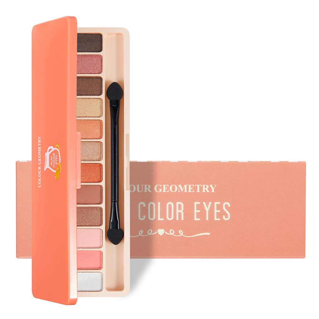 12 Colour Eyeshadow Geometry Earth Color Pumpkin Color Makeup Lazy Girl Red Makeup Pen (#1)