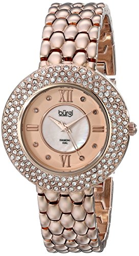 Burgi Women's BUR125RG Diamond & Crystal Accented Mother-of-Pearl Rose Gold Bracelet Watch