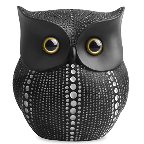 (Owl Statue Decor (Black) Small Crafted Buho Figurines for Home Decor Accents, Living Room Bedroom Office Decoration, Buhos Bookself TV Stand Decor - Animal Sculptures Collection BFF for Owls Lovers )