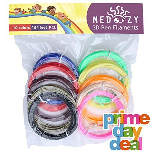 MeDoozy 3D pen filament refills - PCL filament 1.75mm - eco-friendly 3D filament - non-toxic 3D printer filament - odorless 3D printing filament - kids safe 3D pen refill - 10 colors 16.4 feet each