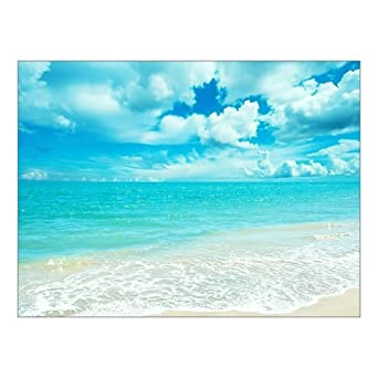 0f0664535fb Creative Beautiful Modern Canvas Wall Art - Blue Sky And White Clouds Ocean  Sunny Beach Sea