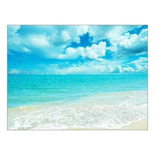 """Creative Beautiful Modern Canvas Wall Art - Blue Sky And White Clouds Ocean Sunny Beach Sea Canvas Print 16"""" x 12"""" Inch - Stretched and Framed Painting Artwork Home Decor Wall Living Room Office Canvas Art - 100% Woven Cotton Canvas Print"""