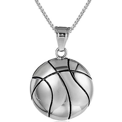8081ec878c7 YEBENI Inoxydable Gothique Vintage Homme en Acier de Style Sport de Basket-Ball  Colliers Pendentif
