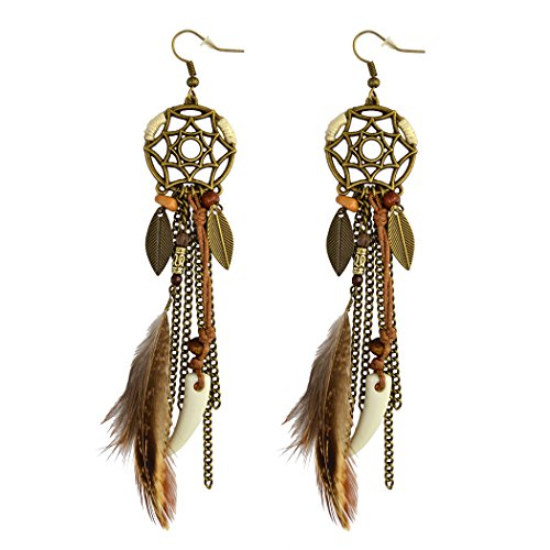 idealway Punk Vintage Long Tassel Feather Beads Drop Wolf Tooth Pendant Earring Fish Hook Earrings