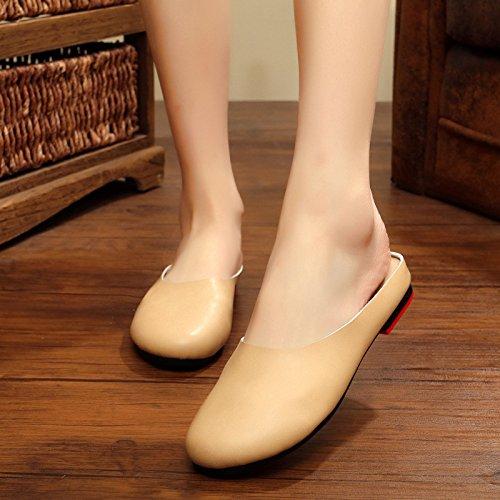 XING GUANG Été Nouveau à Fond Plat Baotou Pantoufles Femme Original Rétro Littéraire à La Main Chaussures Chaussures pour Femmes,Black(39) Beige(43)